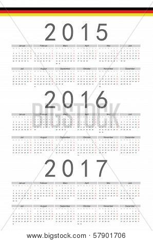 German 2015, 2016, 2017 Year Vector Calendar
