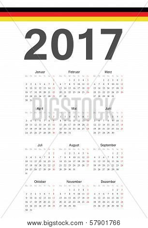 German 2017 Year Vector Calendar