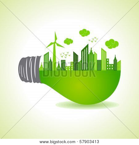 Eco cityscape on light bulb