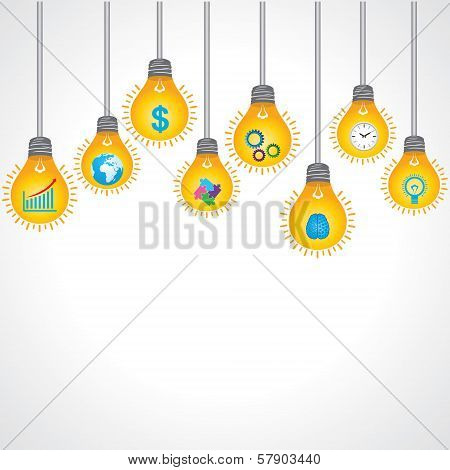 Yellow bulb background with business icons