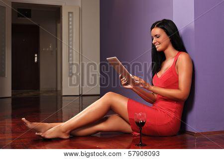 Beautiful Woman Using A Digital Tablet