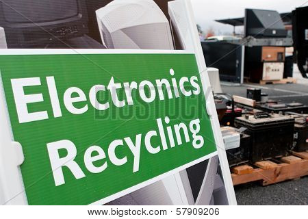 Sign Marks Spot For Electronics Dropoff At Recycling Event