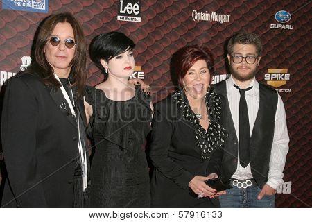 Ozzy Osbourne and Kelly Osbourne with Sharon Osbourne and Jack Osbourne  at Spike Tv's 'Scream 2008'. Greek Theatre, Hollywood, CA. 10-18-08