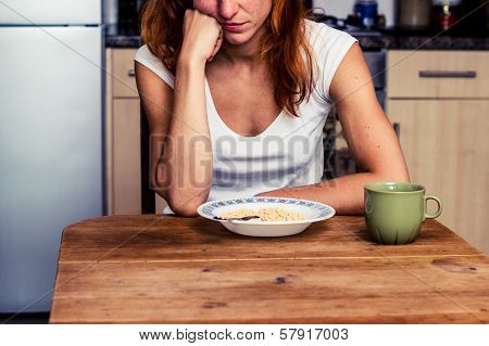 Young Woman Hates Cereal