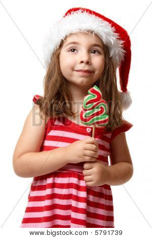 Pretty Santa Girl With Christmas Lollipop