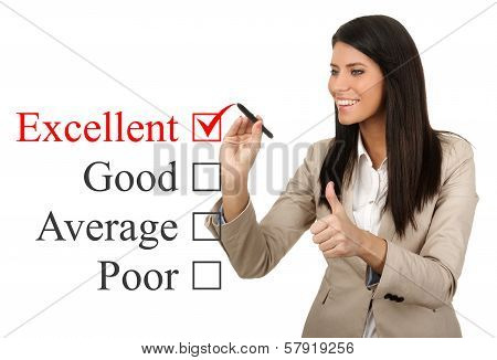 Business Woman Checks Excellent Review