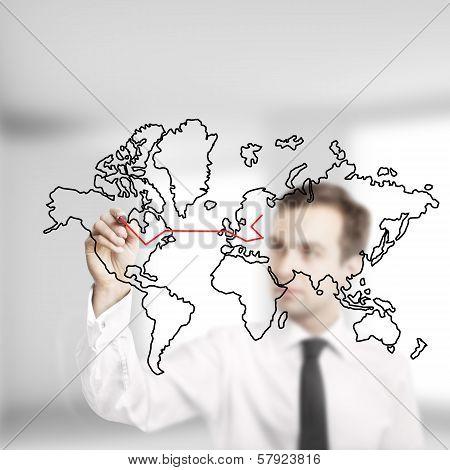 Businessman Drawing Map