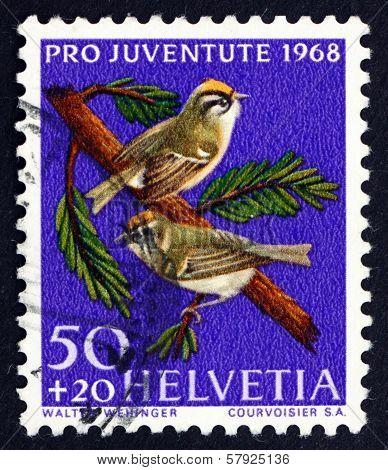 Postage Stamp Switzerland 1968 Common Firecrest, Bird