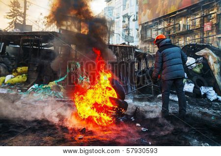 Protester Burning Tires At Hrushevskogo Street In Kiev, Ukraine