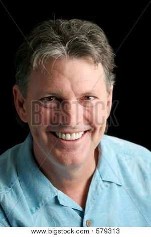 Mature Man On Black - Great Smile