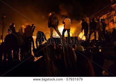 Kiev, Ukraine - January 24, 2014: Mass Anti-government Protests In The Center Of The Ukrainian Capit