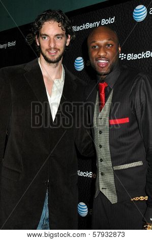 Pau Gasol and Lamar Odom  at the Launch Party for Blackberry Bold. Private Residence, Los Angeles, CA. 10-30-08