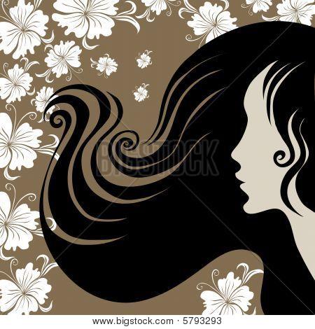 Closeup decorative vintage woman with beautiful long hair