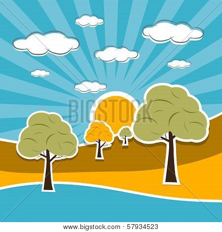 Nature Scenery Retro Illustration With Clouds, Sun, Sky, Trees