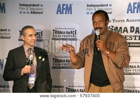 Lloyd Kaufman and Fred Williamson  at the Press Conference for the 10th Anniversary Troma Dance Film Festival. American Film Market, Lowes Santa Monica Beach Hotel, Santa Monica, CA. 11-06-08