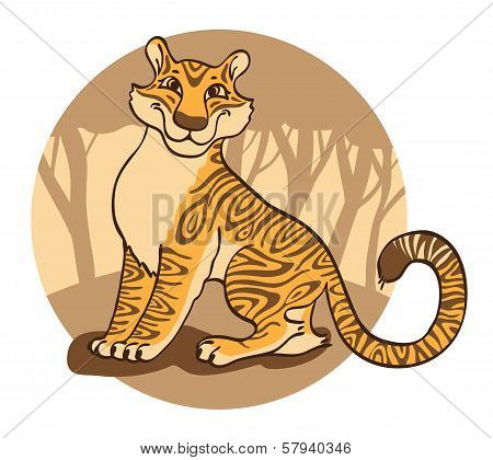 Tiger on a brown  background.