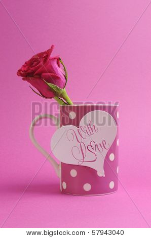 With All My Love Message Greeting On Pink Polka Dot Coffee Mug With Pink Rose Bud For Valentines Day