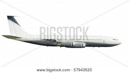 Classic Jet Airplane Isolated Side View