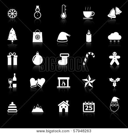 Winter Icons With Reflect On Black Background