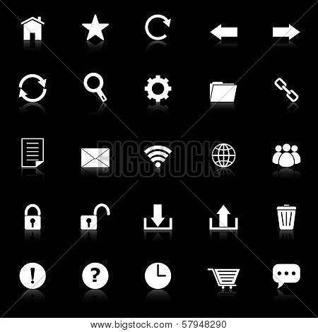 Tool Bar Icons With Reflect On Black Background