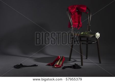 Women's underwear on a chair.