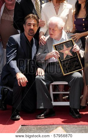 Joe Mantegna and Charles Durning  at Hollywood Walk of Fame ceremony honoring Charles Durning. Hollywood Boulevard, Hollywood, CA. 07-31-08