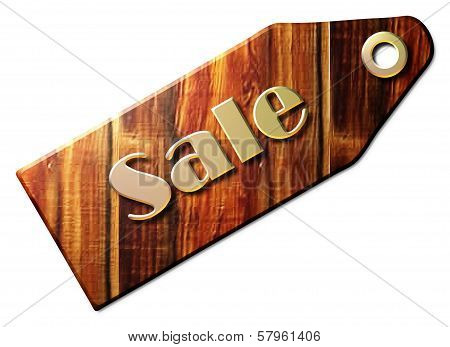 Wooden Sale Tag with Golden Metal Letters