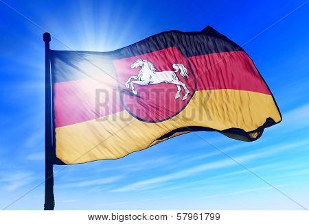 Lower Saxony (GER) flag waving on the wind