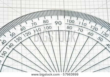 detail of plastic protractor