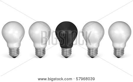 One Black Light Bulb In Row Of Many White Ones. Front View