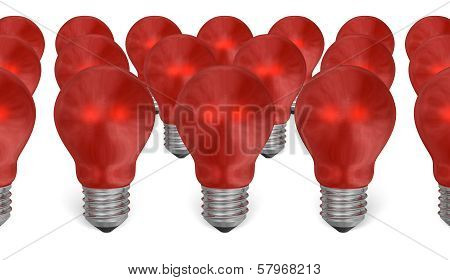 Group Of Red Reflective Light Bulbs