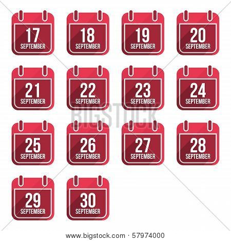 September vector flat calendar icons. Days Of Year Set 24