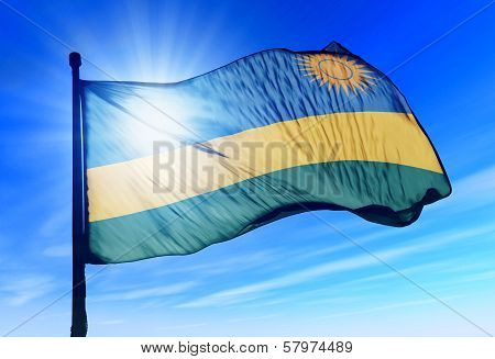 Rwanda flag waving on the wind