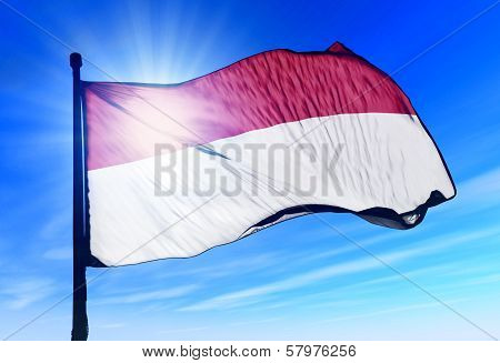 Indonesia flag waving on the wind