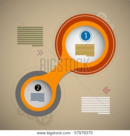 Vector Progress Steps For Tutorial, Retro Paper Circle Infographics