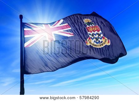 Cayman Islands flag waving on the wind