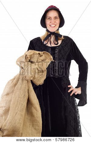 Woman Of The Middle Ages With Sack