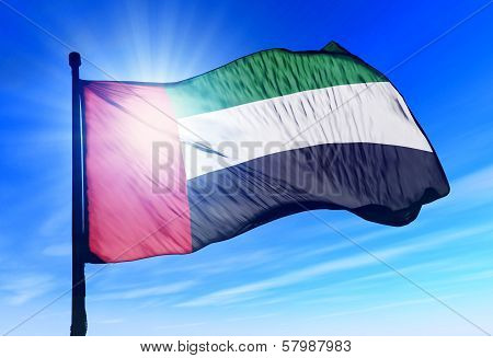 United Arab Emirates flag waving on the wind
