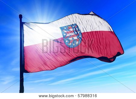 Thuringia (GER) flag waving on the wind