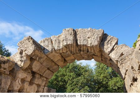 Ancient Stone Arch At Olympia, Greece