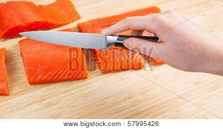 Fresh Salmon Cut Into Pieces For Dinner