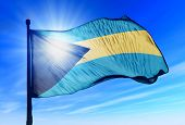 Bahamas flag waving on the wind