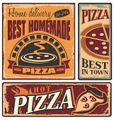stock photo of lunch box  - Retro metal signs set for pizzeria or Italian restaurant - JPG