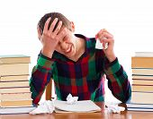stock photo of time study  - Stressful student because he ran out of time - JPG