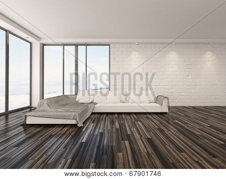 Spacious airy minimalist living room interior with large view windows, a wooden parquet floor and modern sofa