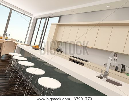 Modern compact open-plan kitchenette with cream colored cabinets, a counter and bar stools with a contemporary steel faucet fitting and large view windows, receding perspective