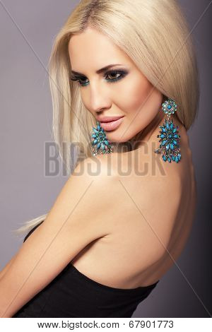 Portrait Of Sexy Glamour Blond Woman With Bijouterie