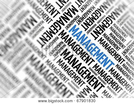 Marketing background with the word - Management - repeated in random sizes and orientations in black text with one central word in large blue uppercase lettering and selective focus