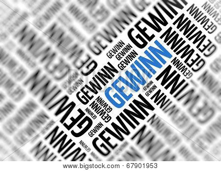 Background with german word - Gewinn (profit) - repeated in random sizes and orientations in black text with one central word in large blue uppercase lettering and selective focus
