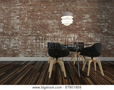 Small modern dining table and four chairs on a wooden parquet floor with rustic face brick wall in an architectural and interior decor background